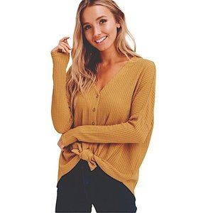 Sienna Sky Tie Front waffle knit thermal top